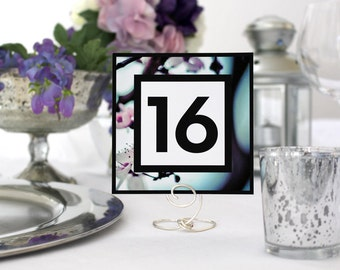 Floral Photo Square Wedding Table Number Romantic Pretty