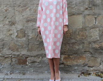 Pink dress, Midi dress, Midi tea dress, Pink Maxi dress, Polka dots dress, Midi dress, Spring dress, Casual dress, Long sleeve dress