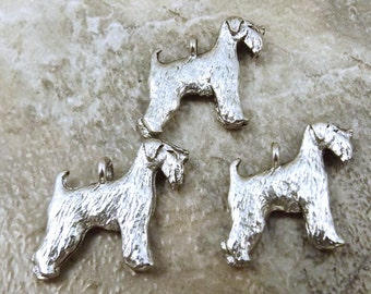 3 Pewter Wheaten Terrier Dog Charms - 5495