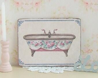 Dollhouse Miniature, Bath Sign, Bathroom Picture, Home Decor, Wall Art, Roll Top Bath, Shabby Cottage Chic, 1:12th Scale
