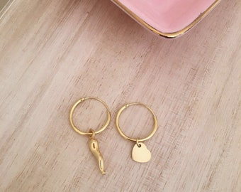 Golden hoops with good luck croissant and heart-silver 925