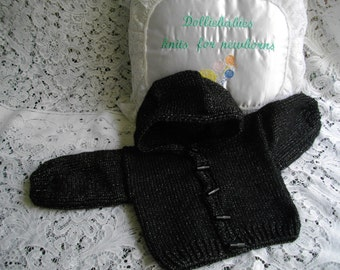 """Hand Knitted High Sheen Black Hooded Jacket for 0-6 Month Baby or 22-24"""" Reborn Doll"""