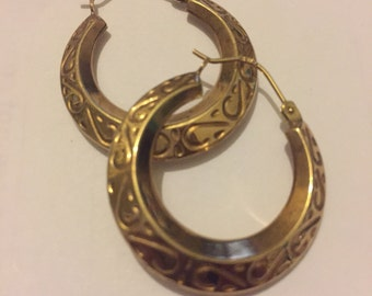 Vintage 9ct Gold Hoop Earrings, Fancy Engraved Yellow 375 Gold