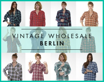 Vintage FLANNEL shirts colorful MIXED LOT x 10 items, wholesale, 80s, 90s, grunge, distressed, high quality bulk, ready for wear or resale