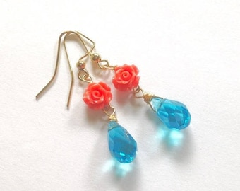 Peach Rose Earrings, Aqua blue Crystal, Dainty Spring Earrings, Mother's Day, Gift For Her Under 20, Easter Earrings Sale, Gift Wrap