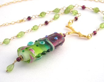26 Inch Gold Chain Necklace With Lampwork Pendant, Peridot, Garnet, Long Necklace