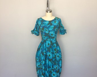 1950s Watercolor Floral Print Dress with Tulip Skirt and Matching Belt