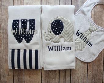 Monogrammed Baby Boy Burp Cloth Set, Personalized Baby Boy Gift, New Baby Gift, Baby Shower, Baby Boy, Personalized Boy, Custom Baby Gift