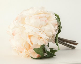 Whimsical Ivory Cream and Pastel Pink Peony BOUQUET -- Artificial Flower, Wedding Bouquet - ITEM 01027