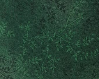 """Dark Green vines with leaves 108"""" wide back 100% cotton fabric"""