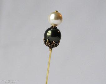 Dark Green Stick Pin, Lapel Pin, Hijab Pin, Green and Ivory, Swarovski Pearls, H0283