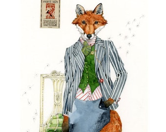 Fox art Print Fox Giclee Art Print Fox in Pinstripes 8x11
