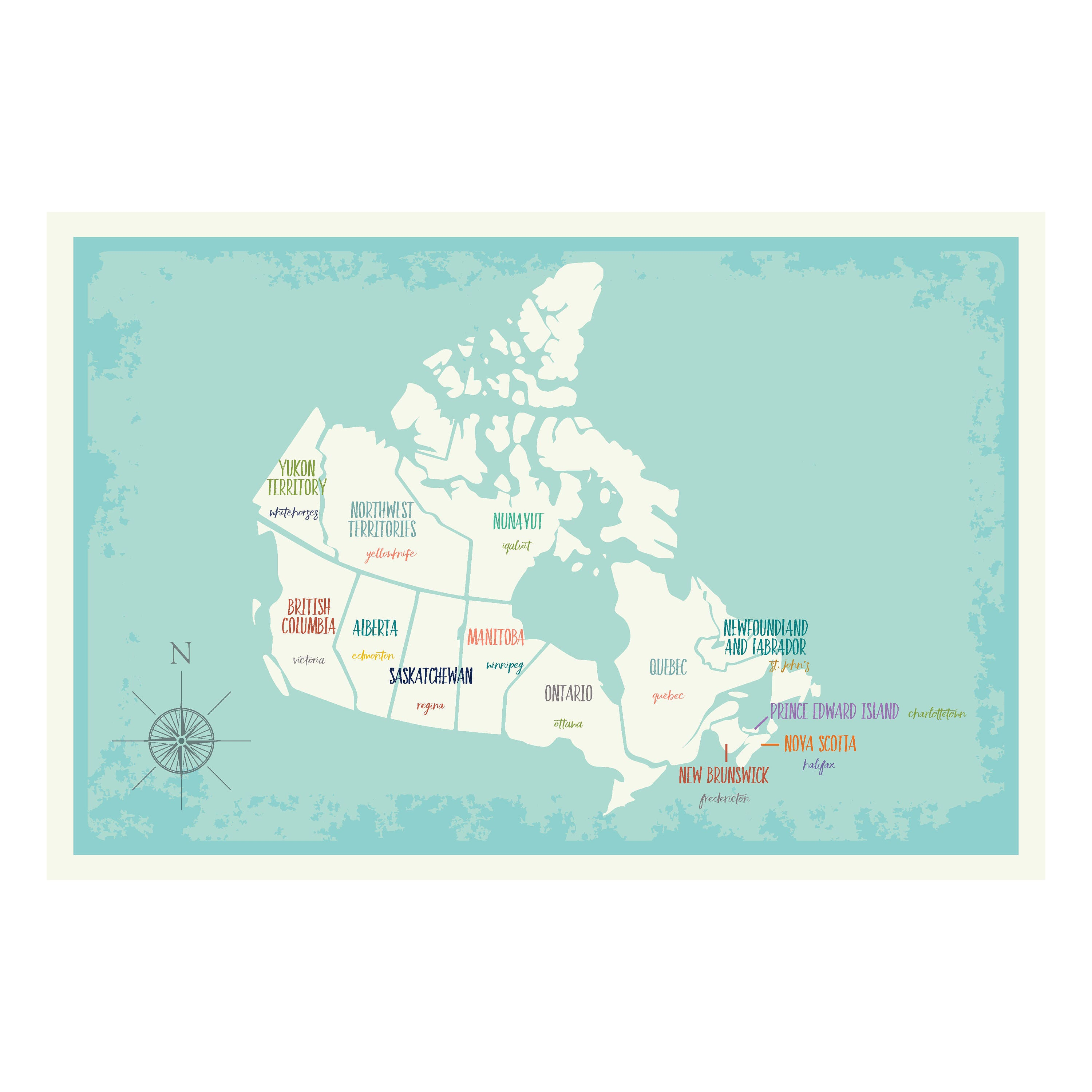 Canada map wall art map of canada canada map print canada zoom gumiabroncs Choice Image