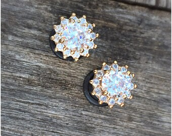 Pair 24k gold plated Faceted clear zircon crystal plugs for gauged ears: 6g (4mm), 4g (5mm), 2g (6mm), 1g (7mm), 0g (8mm)