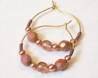 VENICE Beaded Hoop Earrings- Boho Rose Gold Earth Tones