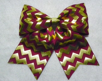 Light Maroon and Gold Chevron Hairbow