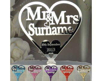 Wedding Cake Topper Love Heart Personalised Mr & Mrs ANY TITLE SURNAME Anniversary - Mirror Acrylic Silver Gold Pink + (LittleShopOfWishes)
