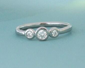 Three Stone Moissanite Engagement Ring, Palladium 950 and Moissanite