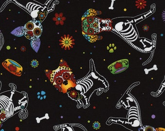 Timeless Treasures-Day of The Dead Pups C4640 in Black