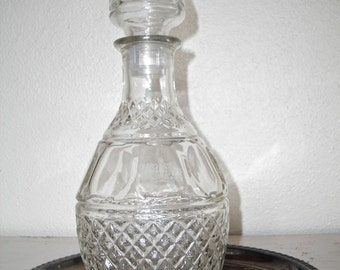 decanter for your bar - pressed glass liquor bottle - mad men shabby cottage chic - hollywood regency - hipster barware