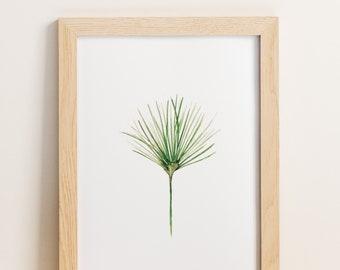 Watercolor Botanical Print, Papyrus, Tropical Leaf Art, Tropical Plant Print, Tropical Artwork, Tropical Leaf Decor