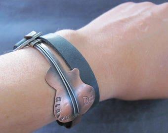 Leather Wrap Bracelet Men, Mens Wrap Bracelet, Leather Bracelet, Mens Leather Bracelet, Leather Wrap, Leather Bracelet for Mens, Guitar gift