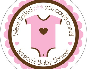 Personalized Glossy Girl (or boy/neutral) Baby Shower Stickers - many designs to choose from - can change colors, wording, etc. BR-004