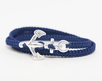 Bracelet human anchor marine solid silver