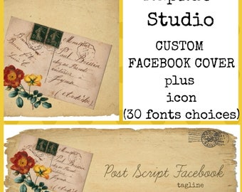 Add On-CUSTOM FACEBOOK COVER-Vintage Facebook Cover-You Get=Custom Facebook Cover plus a free blank icon(30 fonts to choose from)