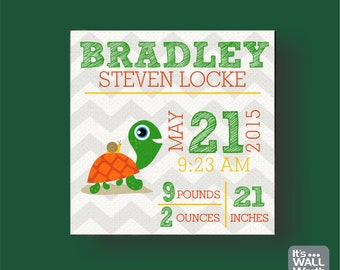 Baby Birth Announcement Canvas - Turtle Design - Nursery Canvas Subway Art, Personalized Wall Hanging