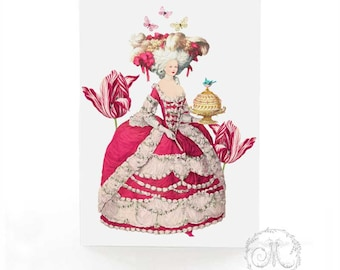 Marie Antoinette card with pink tulips and cake, birthday card, friendship card, blank all occasion card