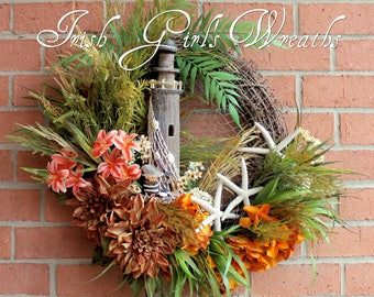 Summer Wreath, Rustic Lighthouse and Starfish Coastal Landscape Wreath, Nautical decor, Pelican, Beach Coastal Wreath, Tropical Wreath