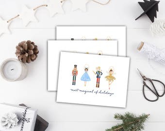 Nutcracker Note Cards // Christmas Note Cards // Nutcracker Stationery // Note Cards Blank Inside // Folded Note Cards // thank you notes