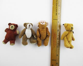 "Your CHOICE - Four Tiny Stuffed Animals - Stuffed Bears and a Stuffed Monkey - 3"" Tall Figures - Imagine the History"