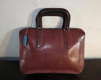 Vintage Coach Bag Slim Satchel Wine Leather Boxy
