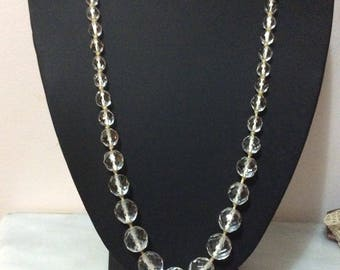 Vintage Edwardian Rock crystal 25Inch necklace