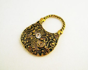 BF55 - Charm bag-in-hand Charm with Rhinestones, Antique gold color