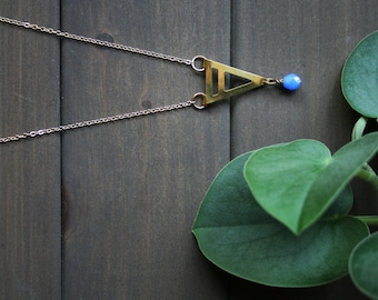 Umea long triangle Necklace - geometric minimal necklace blue and gold brass arrow necklace art deco everyday jewelry for women simple SALE