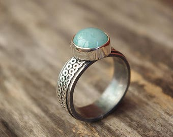 Handmade silver ring with natural chalcedony