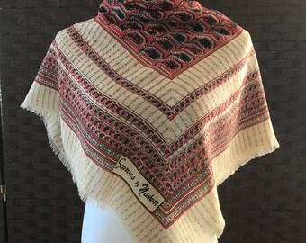 Scarves By Nasharr, Vintage Fringed Square Scarf, Fashion Scarf, Nasharr Scarf, Vintage Accessories, Vintage Scarves, Scarves