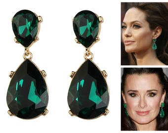 Emerald Earrings Posts Green Angelina Jolie Kyle Richards LARGE Emerald green Teardrop Drop Estate Style Earrings