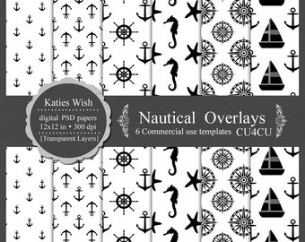 Nautical Overlays digital template kit commercial use PSD layers instant download file