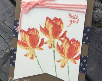Floral Blossom Handmade Thank You Card
