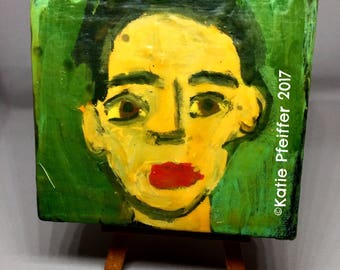 Outsider Folk Art Brut  Miniature Block Portrait Painting  With  Wood Easel JACOB Travel