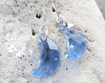 Light sapphire blue crystal crescent moon earrings- sterling silver earwires - Swarovski crystal moons - free shipping in USA