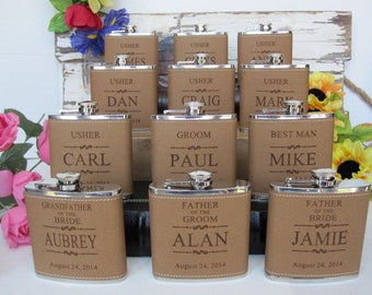 2 Groomsman Flask Set Personalized