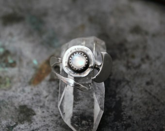 Gypsy Boho Moonstone Ring. Adjustable Handmade Sterling Silver Rainbow Moonstone Ring. Bohemian Ring.