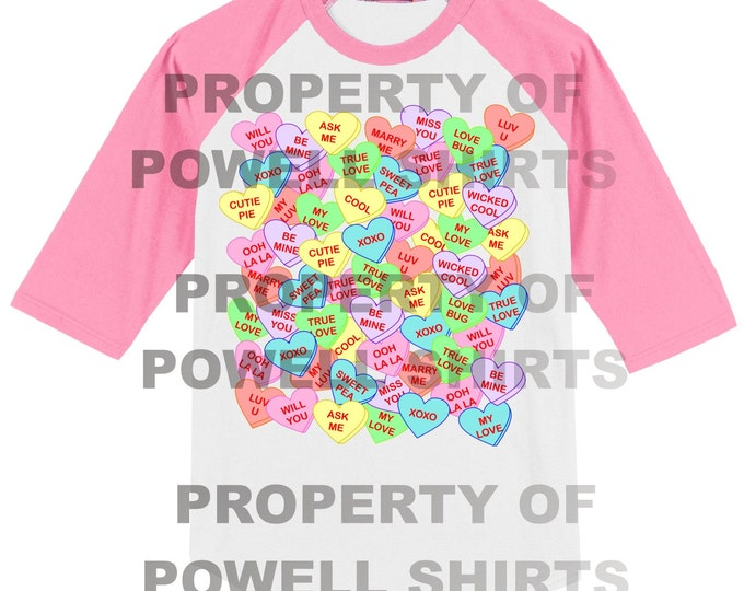 Conversation Hearts Valentines T Shirt - Raglan - Many colors available
