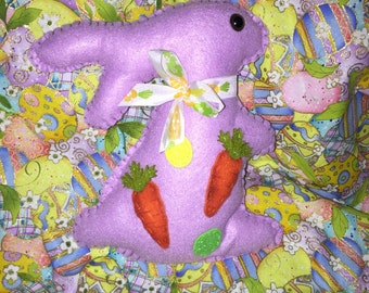 Felt Purple Standing Easter Bunny