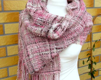 Handwoven long scarf with fringe for women Handspun wool silk loomed scarf shawl wrap Dusty rose unique scarf Lightweight wool woven shawl